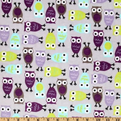 Shannon Kaufman Minky Cuddle Night Owls Saltwater/Violet