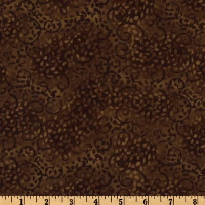 108'' Complementary Leafy Scroll Quilt Backing Brown