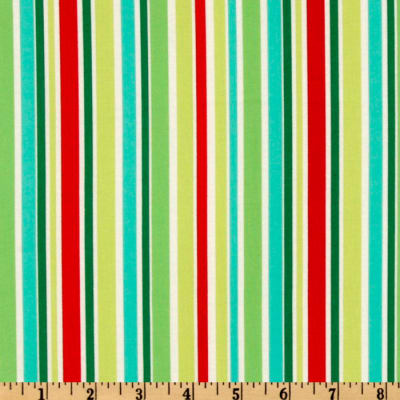Michael Miller Holiday Yule Trees Aqua That's All Stripe Multi