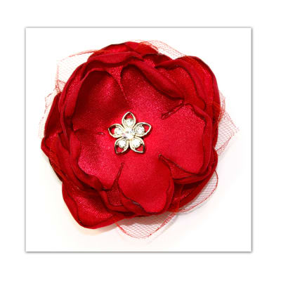 Laliberi Pin & Clip Flower Layers Scarlet Red