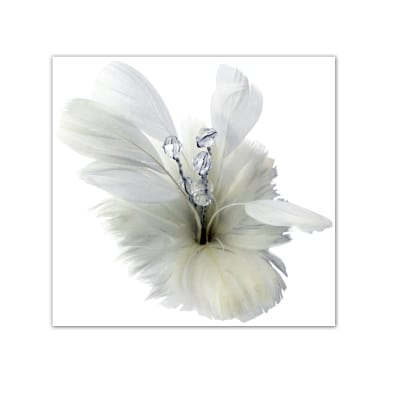Laliberi Pin & Clip Flower Feather Bloom White