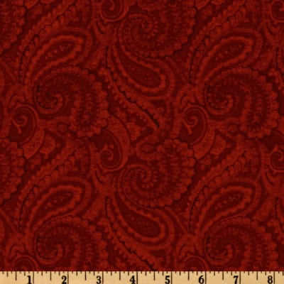 108'' Complementary Quilt Backing Paisley Crimson