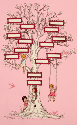 Michael Miller Children at Play Family Tree Panel Pink