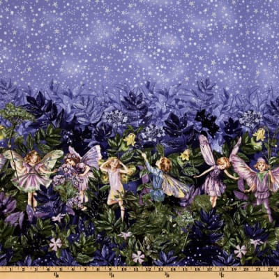 Michael Miller Night Flower Fairies Double Border Stripe Nite Blue