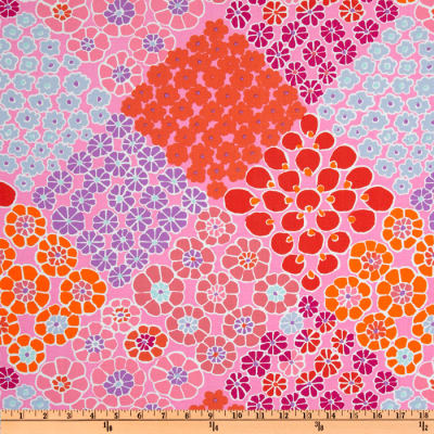 Kaffe Fassett Prints Collection Tile Flowers Pink