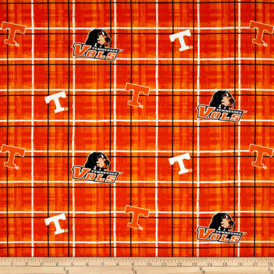 Collegiate Cotton Broadcloth University of Tennessee Plaid Orange