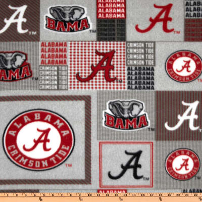 Collegiate Fleece University of Alabama Plaid Blocks Red/Gray