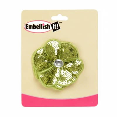 Jeweled Posey Sequin Brooch 2-1/2'' Lime