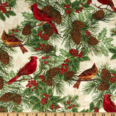 Timeless Treasures Season's Greetings Winter Cardinal Ivory