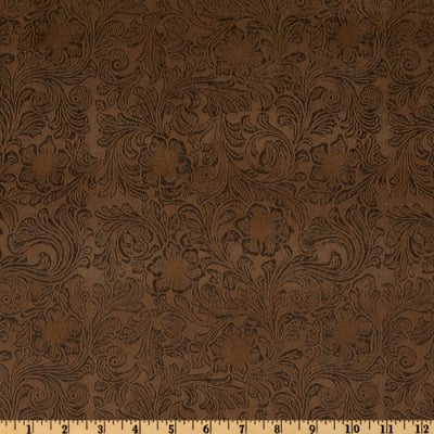 Bijoux Faux Leather Floral Flourish Dark Tan