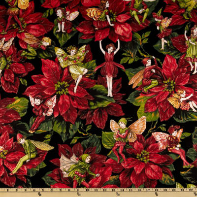 Michael Miller Christmas Flower Fairies Red