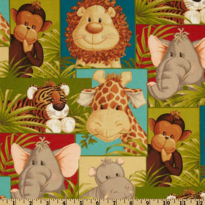 Jungle Babies Patchwork Animals Green