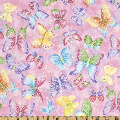 Tossed Butterflies Pink Metallic