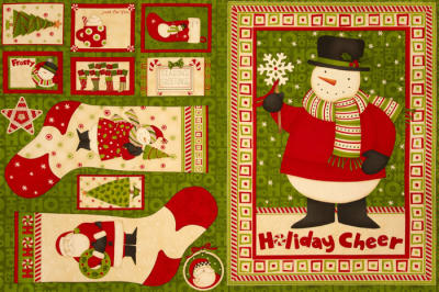 Ho Ho Holiday Christmas Stockings and Wallhanging Panel Red/Green