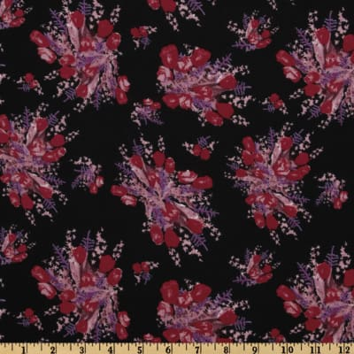 Crepe de Chine Floral Black/Red/Purple