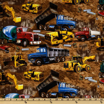 Timeless Treasures Construction Vehicles Brown