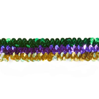 1 1/4'' 3 Row Stretch Metallic Sequin Trim Mardi Gras