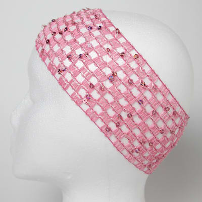 "2 3/4"" Sequin Stretch Crochet Headband Hot Pink"