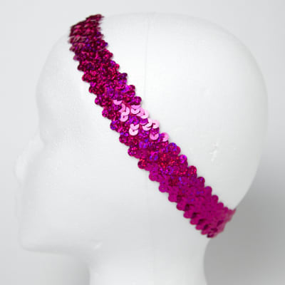 "1 1/4"" Hologram Sequin Stretch Headband Fuchsia"