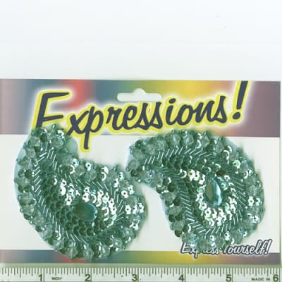 Paisley Sequin Applique Pair Aqua