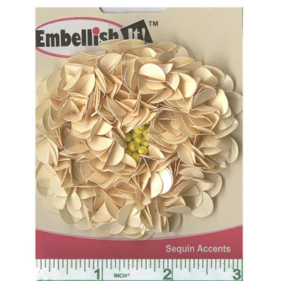 Large Flower Sequin Applique Beige