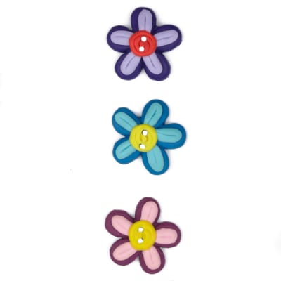 Novelty Button 5/8'' PR Flowers  Multi