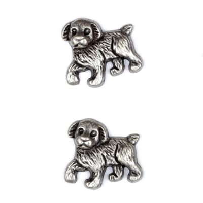 Metal Button 1 1/8'' Pooch Antique Silver