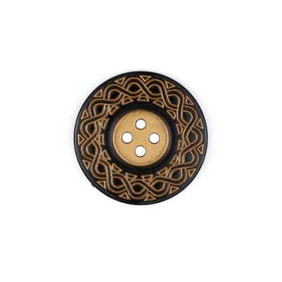 Kathy Ireland Fashion Button 1 1/4'' Fiesta Black/Gold