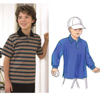 Kwik Sew Boy's Collared Knit Shirts Pattern