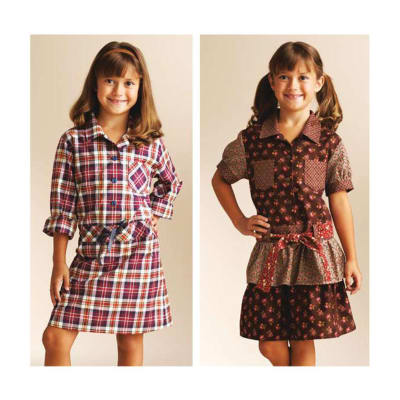 Kwik Sew Girls Dropped Waist Shirt Dresses Pattern