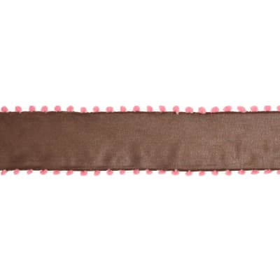 "1 1/2"" Pom-Pom Edge Wired Ribbon Brown/Pink"