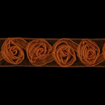 1 1/2'' Organza Rosette Ribbon Orange