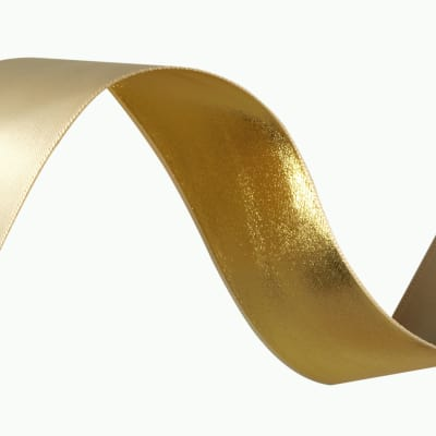 1 1/2'' Reversible Satin Ribbon Metallic Gold/Ivory