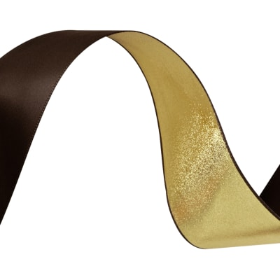 1 1/2'' Reversible Satin Ribbon Metallic Gold/Brown