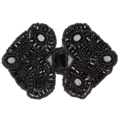 Beaded Double Diamond Applique Black