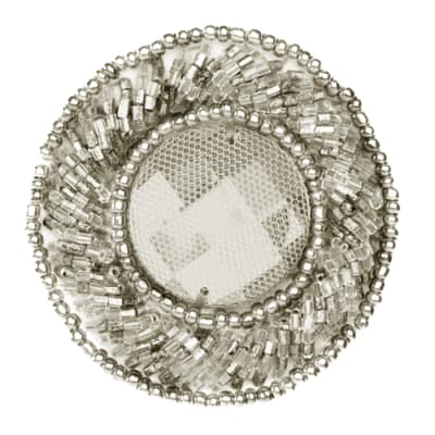 Beaded Medallion Round Applique Silver