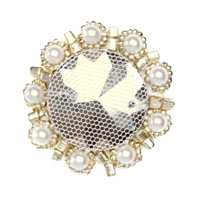 Floral Bead Pearl Medallion Applique Silver