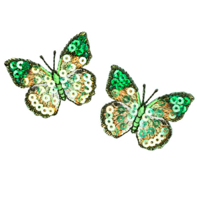 Small Butterfly Iron On Sequin Applique Green