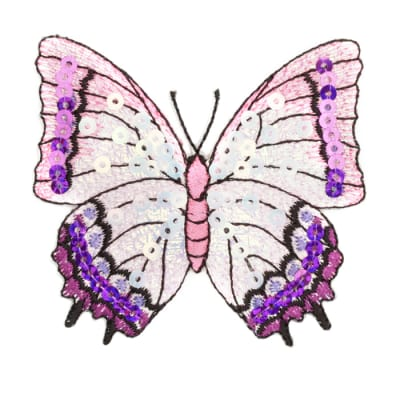 Large Butterfly Iron On Sequin Applique Lavender