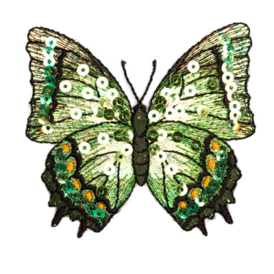 Large Butterfly Iron On Sequin Applique Green
