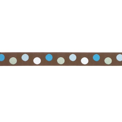 7/8'' Ribbon Dots Brown/Aqua
