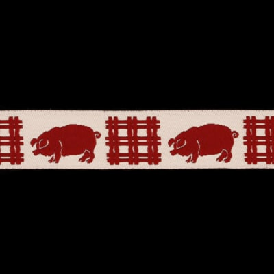 5/8'' Ribbon Pigs Red/Cream