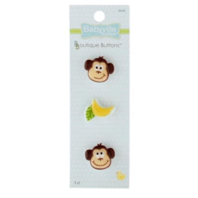 Babyville Boutique Buttons Monkey