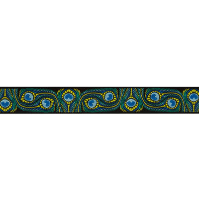 7/8'' Jacquard Ribbon Peacock Blue/Green
