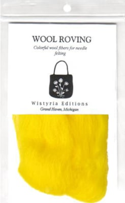 """100% Wool Roving 12"""" Package .2 Ounces Yellow"""