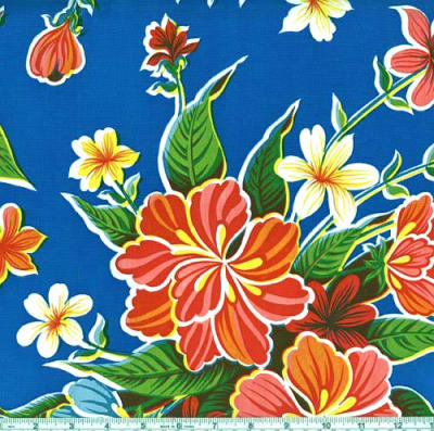 Oil Cloth Hibiscus Blue