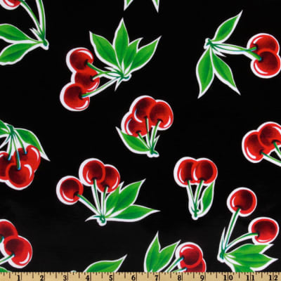 Oilcloth Stella Cherries Black