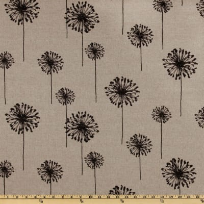 Premier Prints Dandelion Black/Denton Barkcloth
