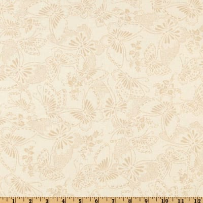 """110"""" Wide Quilt Backing Butterfly Cream/Taupe"""