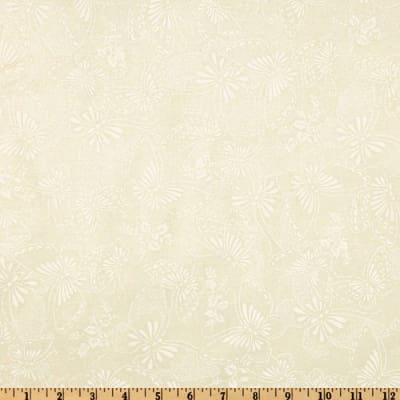 """110"""" Wide Quilt Backing Butterfly Ivory/White"""